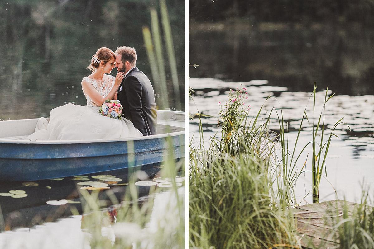 romantische Brautpaarfotos auf See - Landgut Stober Hochzeitsfotograf © www.hochzeitslicht.de