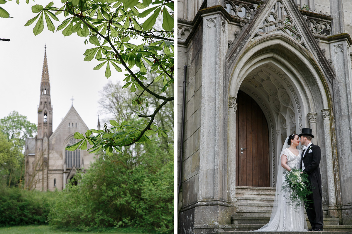 Brautpaar bei entweihter Kirche - Schloss Kröchlendorff Hochzeitsfotograf © www.hochzeitslicht.de