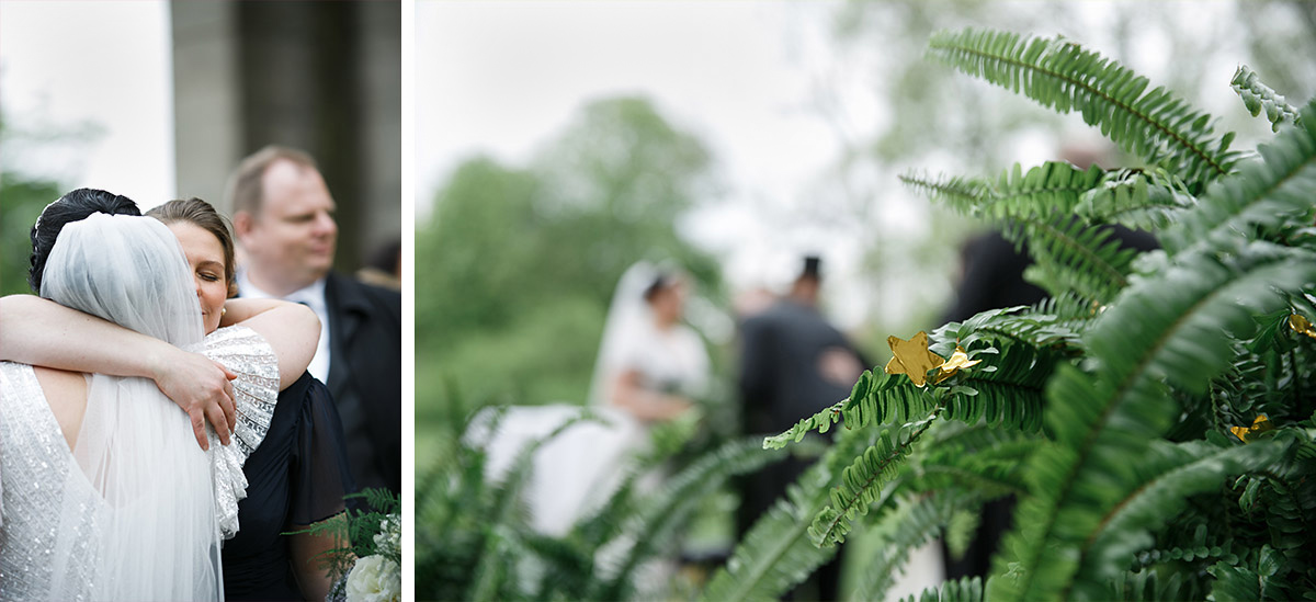 Farn-Dekoration bei Hochzeit - Schloss Kröchlendorff Hochzeitsfotograf © www.hochzeitslicht.de