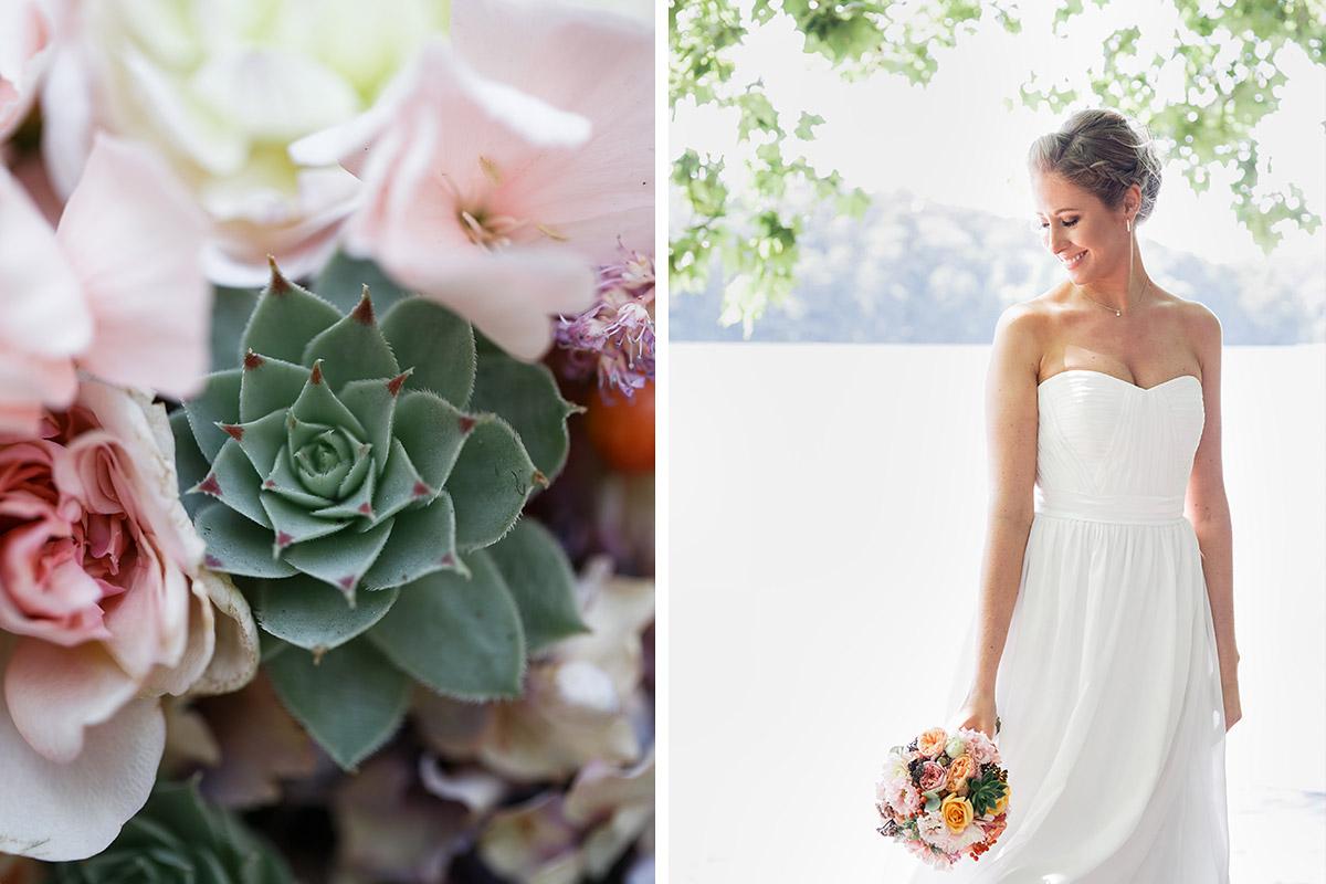 Hochzeitsportrait von Braut und Detailfoto von Brautstrauß mit Blumen in Pastell und Sukkulenten - Berlin Hochzeitsfotograf © www.hochzeitslicht.de
