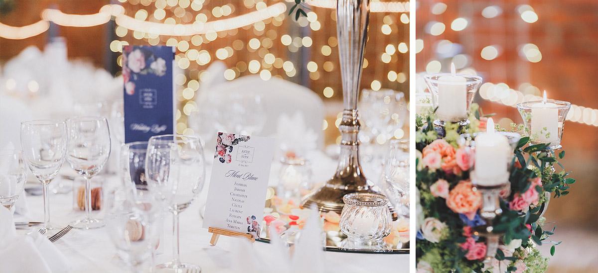Hochzeitsfotografien von Tischdekoration bei stilvoller Landgut Stober Hochzeit - Landgut Stober Hochzeitsfotograf © www.hochzeitslicht.de