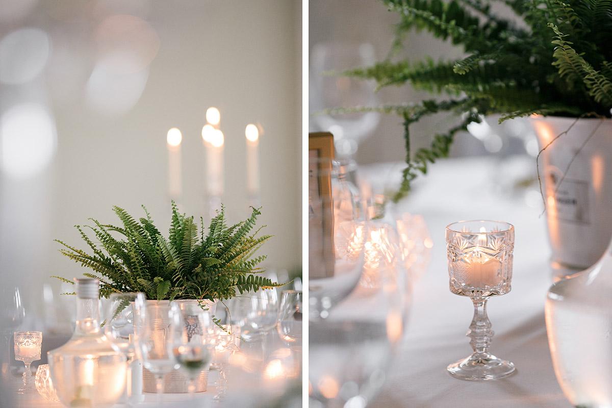Tischdekoration Hochzeitsfeier Vintagehochzeit - Schloss Kröchlendorff Hochzeitsfotograf © www.hochzeitslicht.de