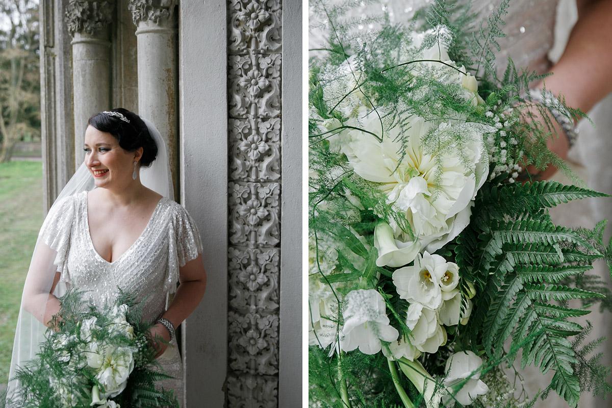 Hochzeitsportrait Braut bei Vintage-Hochzeit - Schloss Kröchlendorff Hochzeitsfotograf © www.hochzeitslicht.de