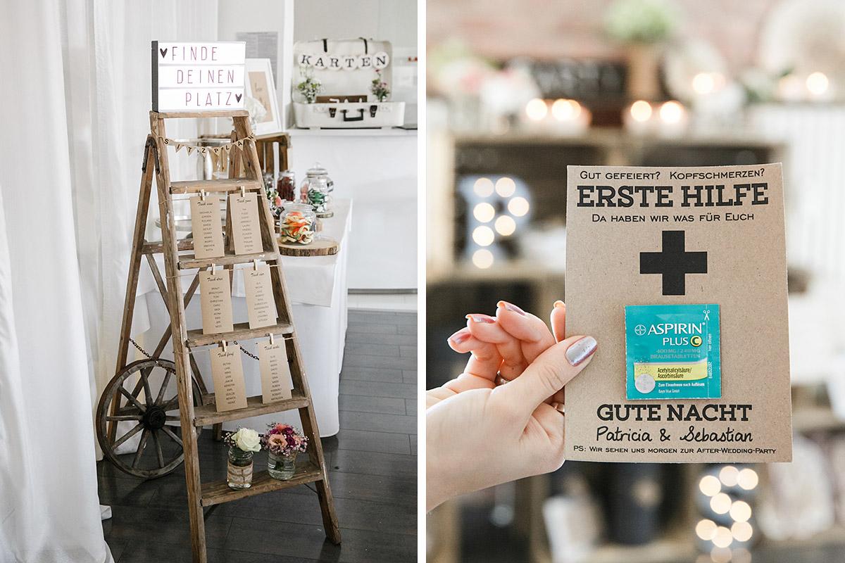 diy sitzplan aus alter leiter und erste hilfe paket kopfschmerztabletten f r g ste. Black Bedroom Furniture Sets. Home Design Ideas
