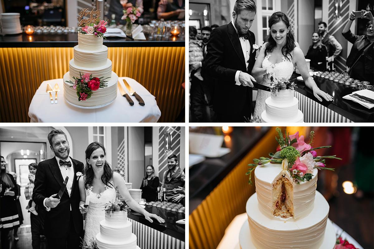 Hochzeitsreportagefotos vom Anschneiden der Hochzeitstorte - Ermelerhaus Hochzeitsfotograf © www.hochzeitslicht.de