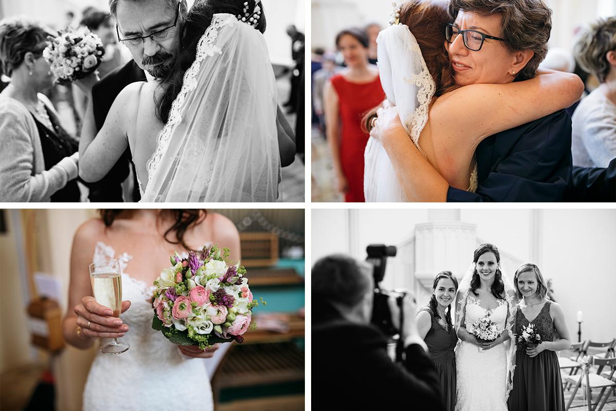 Hochzeitsreportage Gratulation nach Trauung Alte Neuendorfer Kirche Potsdam - Ermelerhaus Hochzeitsfotograf © www.hochzeitslicht.de