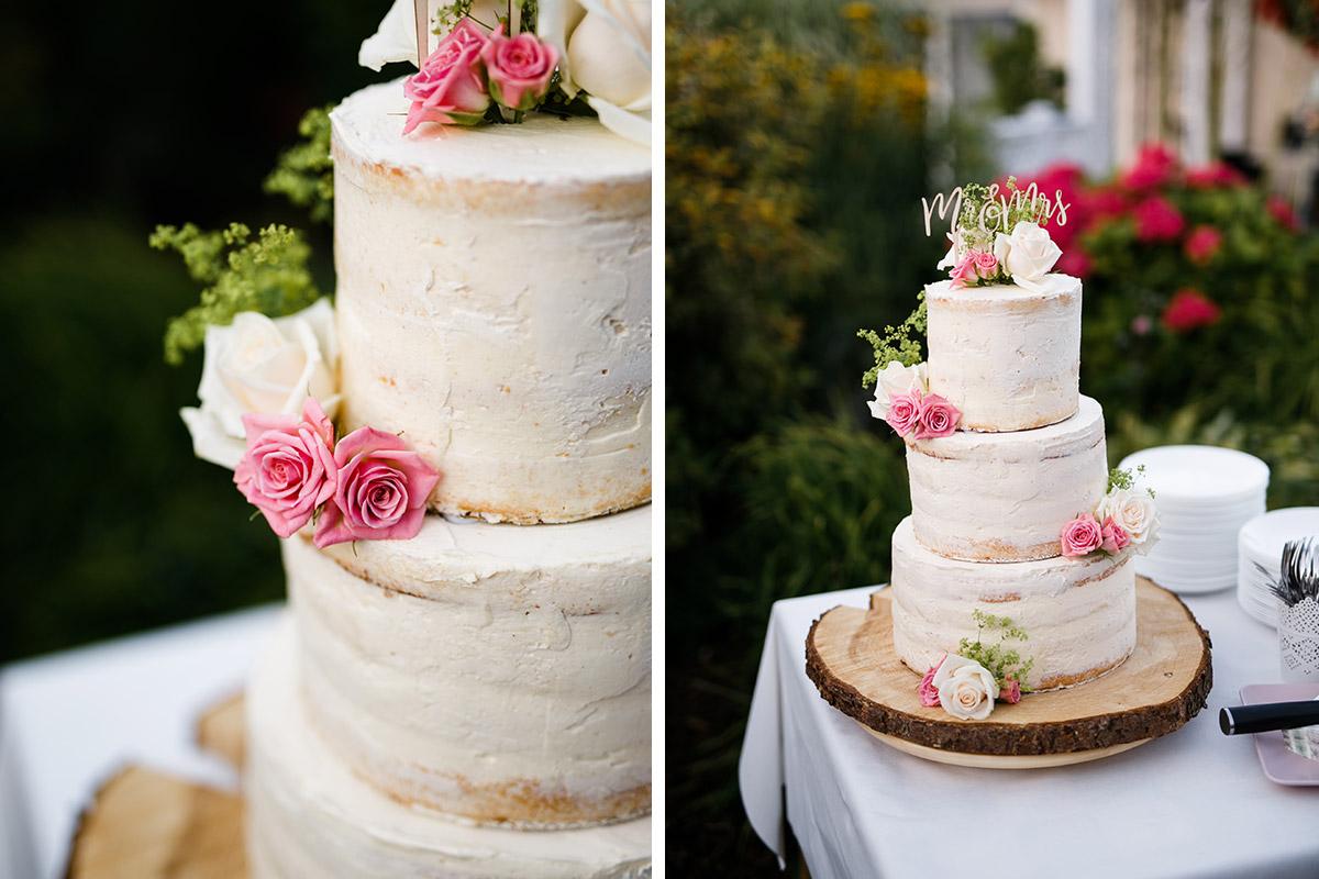 Dreistockige Diy Hochzeitstorte Naked Cake Mit Blumendeko