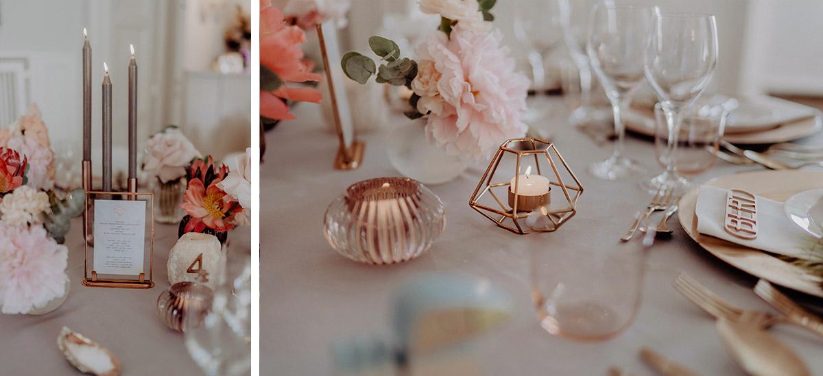 elegante Tischdekoration Kupfer Boho Hochzeit - Villa Blumenfisch Berlin Hochzeitsfotograf © www.hochzeitslicht.de