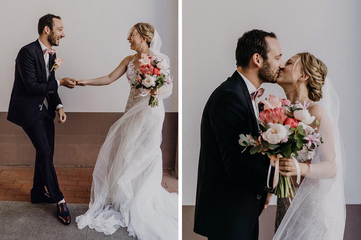 ungestellte Hochzeitsfotos First Look Brautpaar - Schloss Glienicke Hochzeitsfotograf Potsdam © www.hochzeitslicht.de