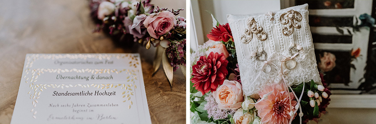 Hochzeitsreportagefotos Details DIY Ringkissen mit Gold-Initialen und Spitze und Einladungen mit Goldprägung - Ermelerhaus Berlin Hochzeitsfotograf © www.hochzeitslicht.de