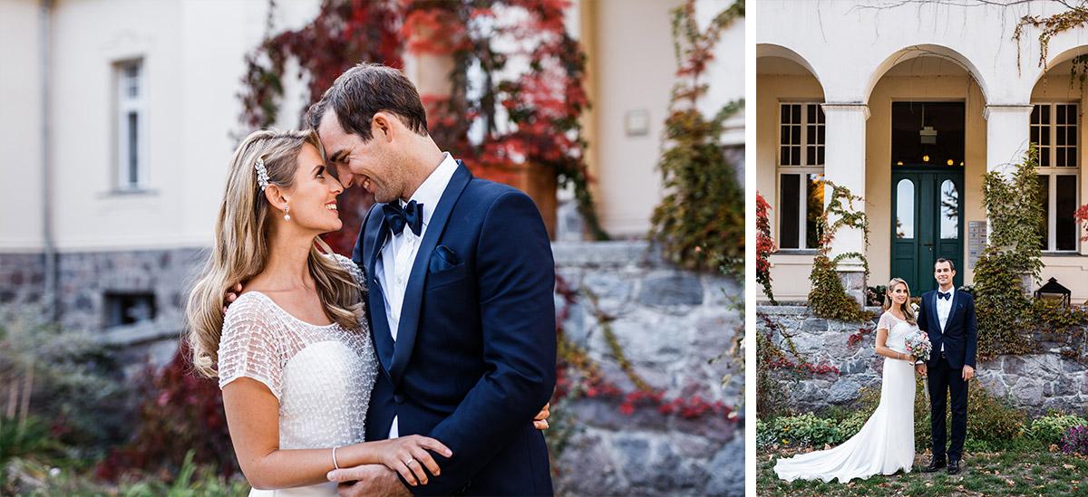 Hochzeitsfotografie Brautpaar bei Herbsthochzeit - Seehaus Schloss Liebenberg Hochzeitsfotograf © www.hochzeitslicht.de