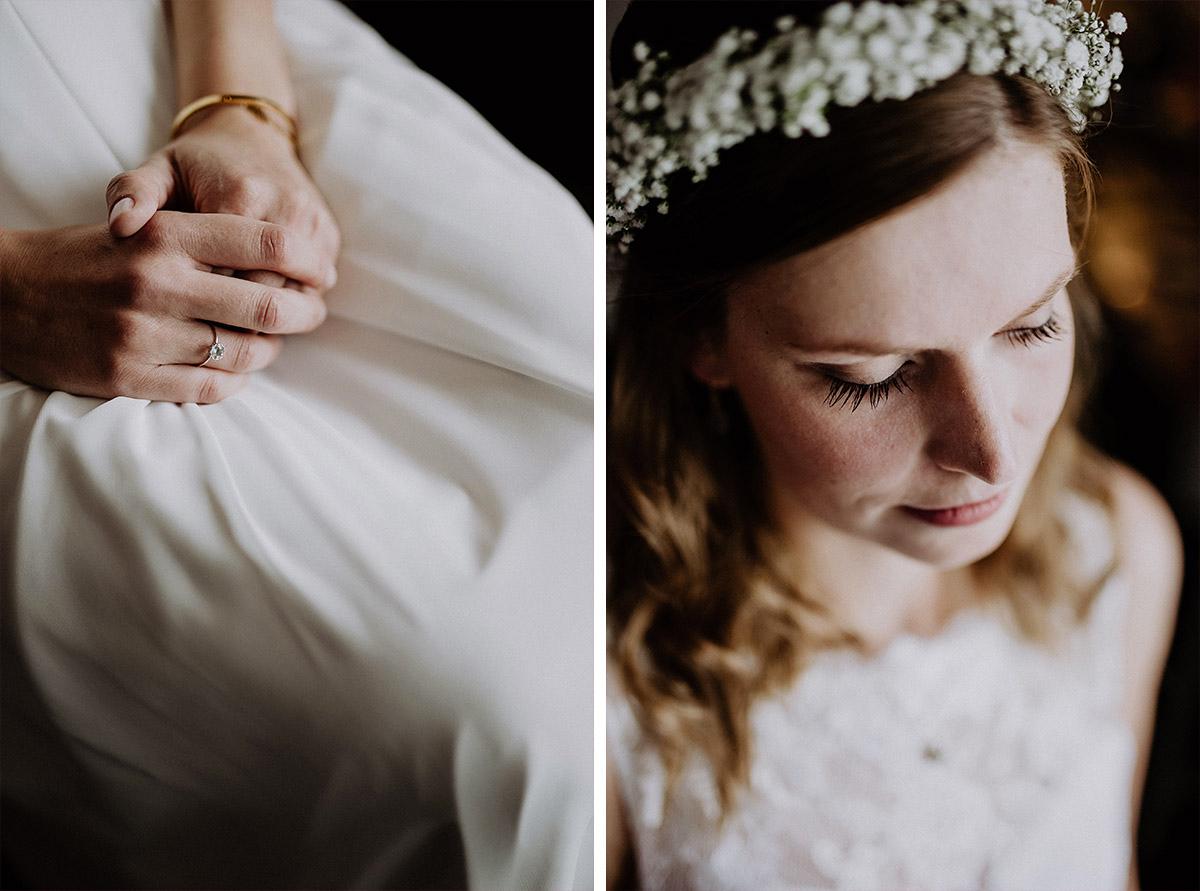 Braut mit Haarkranz aus Schleierkraut - Vierseithofcafé Brandenburg Hochzeitsfotograf © www.hochzeitslicht.de