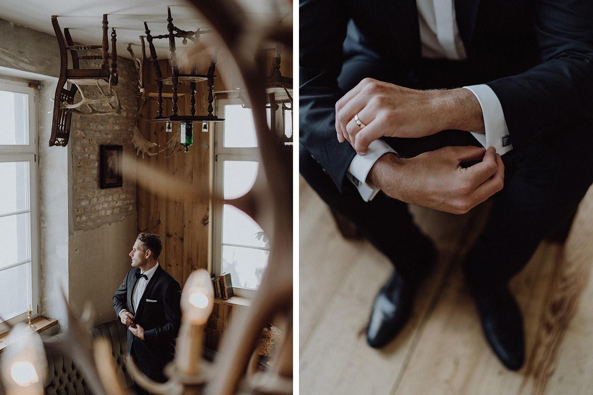 Ankleiden Bräutigam mit Anzug von Wilvorst gekauft bei Suits Berlin und Ring von Juwelier Wempe im The Grand Berlin - Berlin Hochzeitsfotograf © www.hochzeitslicht.de