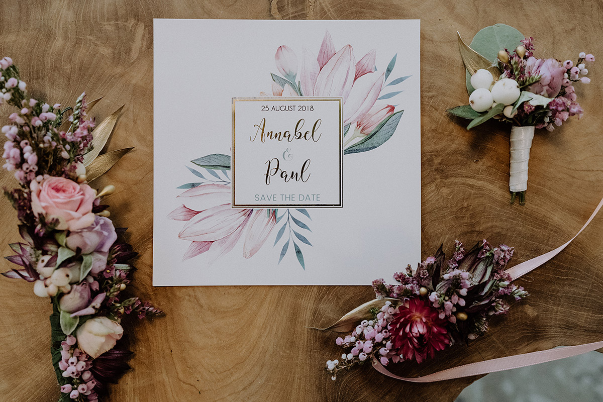 Detailfoto Save The Date Karte Aquarell Magnolie Und Hochzeits