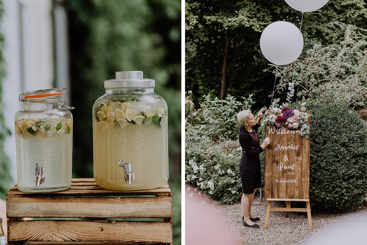 Limonade Hochzeit und Willkommen-Holzschild mit Blumen für Hochzeit - Gut Schloss Golm Potsdam Hochzeitsfotograf © www.hochzeitslicht.de