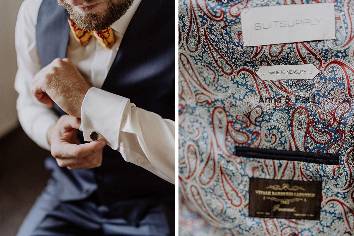 Hochzeitsfotos Ankleiden Bräutigam maßgefertigter blauer dreiteiliger Anzug mit Paisley Innenfutter - Gut Schloss Golm Potsdam Hochzeitsfotograf © www.hochzeitslicht.de