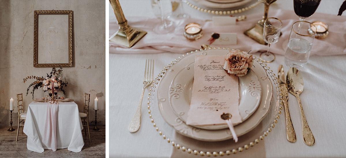 Hochzeitspapeterie Menükarte von Yaves Cake Ink und Blumen-Tischschmuck von Kopflegenden bei barocker Hochzeit - Berlin Hochzeitsfotograf © www.hochzeitslicht.de