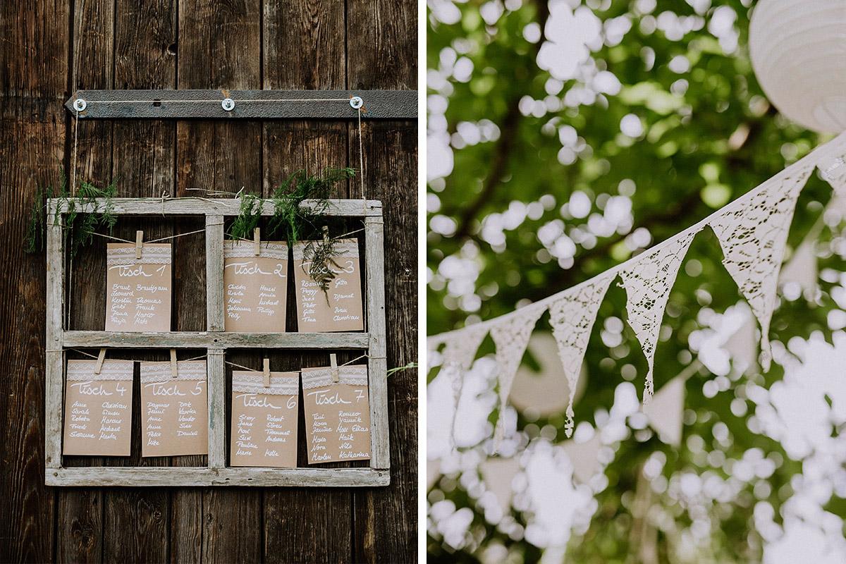 Spitzen Wimpelkette und DIY Tischplan aus Holz, Karton und Spitze - Vierseithofcafé Brandenburg Hochzeitsfotograf © www.hochzeitslicht.de