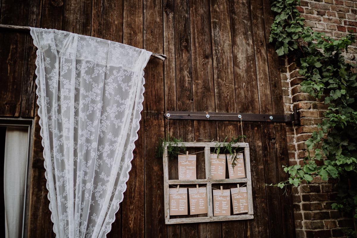 DIY Sitzplan Holz Spitze - Vierseithofcafé Brandenburg Hochzeitsfotograf © www.hochzeitslicht.de