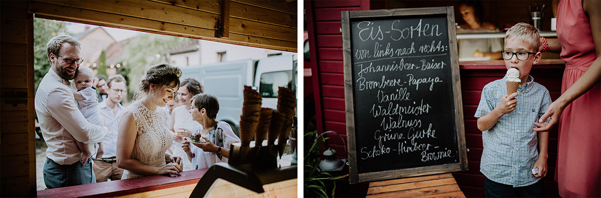 Eis bei Sommerhochzeit - Vierseithofcafé Brandenburg Hochzeitsfotograf © www.hochzeitslicht.de
