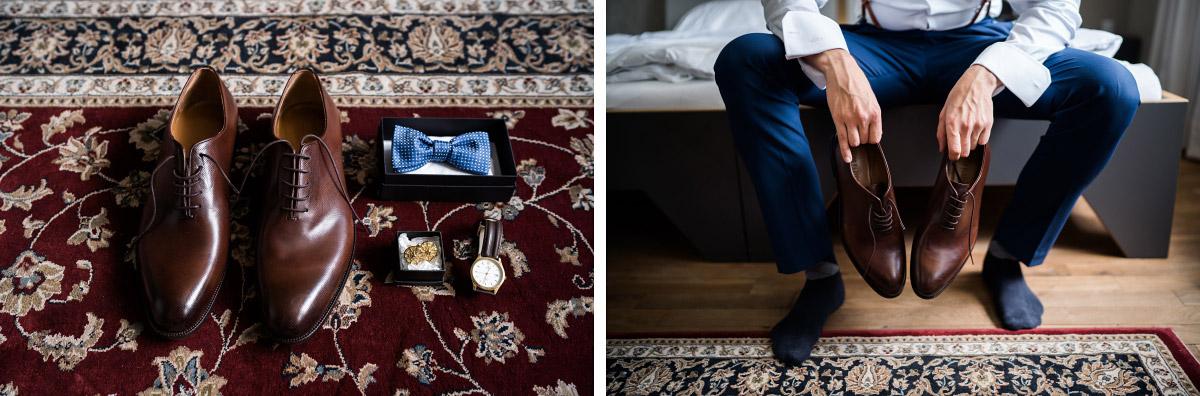 braune Lederschuhe Hochzeit und blauer Hochzeitsanzug bei Vintage-Hochzeit - Villa Blumenfisch Hochzeitsfotograf © www.hochzeitslicht.de
