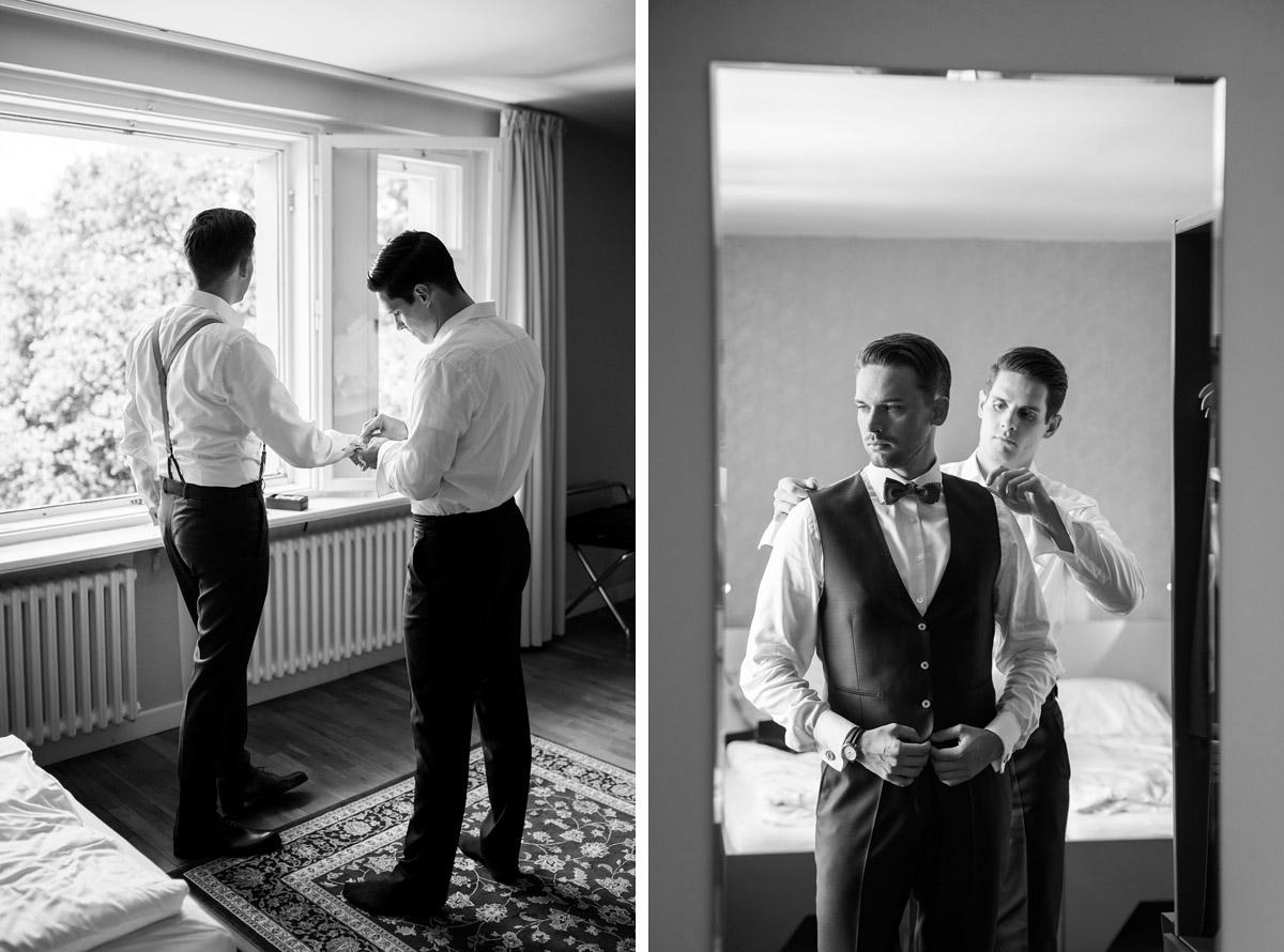 Vorbereitungen Bräutigam auf Hochzeit - Villa Blumenfisch Hochzeitsfotograf © www.hochzeitslicht.de