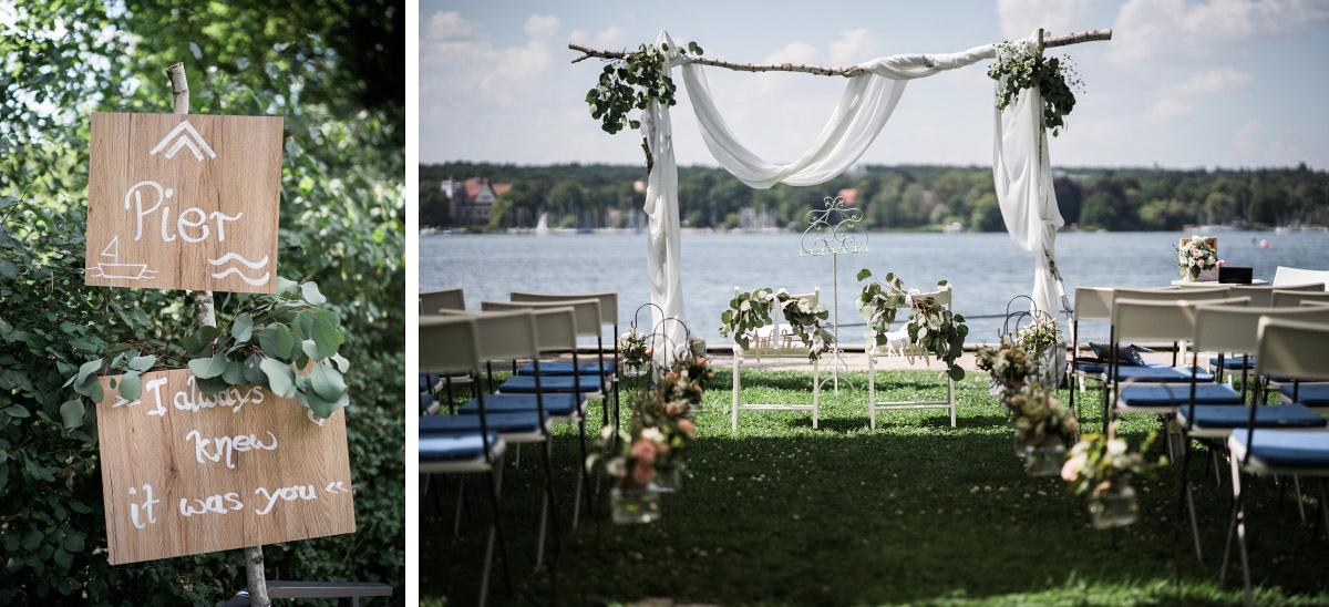 freie Trauung am Wannsee bei DIY Hochzeit - Villa Blumenfisch Hochzeitsfotograf © www.hochzeitslicht.de