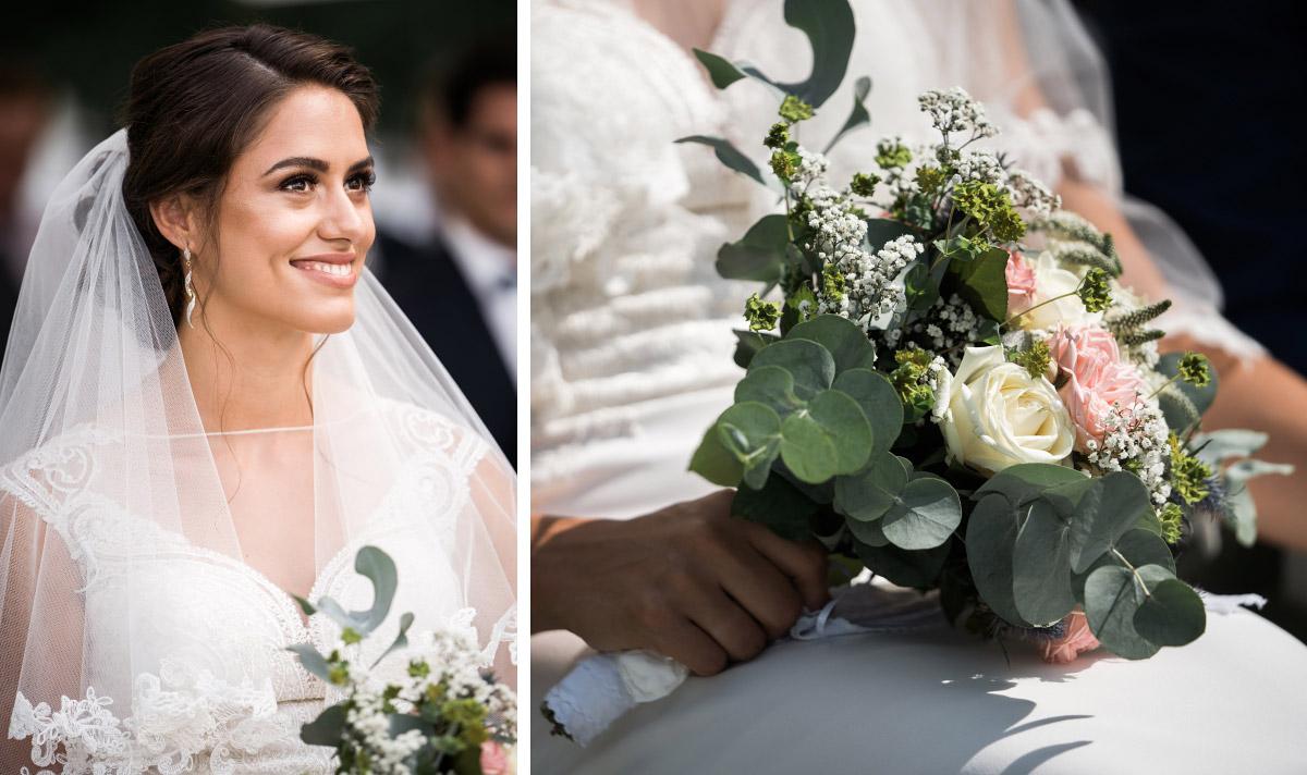 Hochzeitsfotos Braut und DIY Brautstrauß aus Sommerblumen bei freier Trauung - Villa Blumenfisch Hochzeitsfotograf © www.hochzeitslicht.de