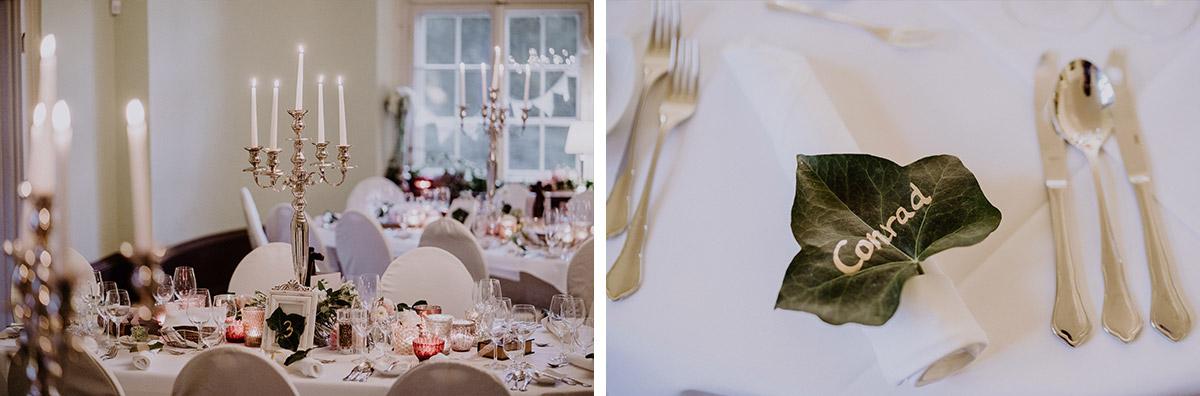 elegante Tischdekoration Herbsthochzeit - Schloss Kartzow Hochzeitsfotograf © www.hochzeitslicht.de