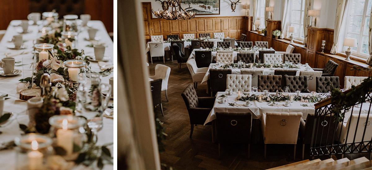 Tischdekoration elegante Landhochzeit - Spreewaldresort Seinerzeit Hochzeitsfotograf © www.hochzeitslicht.de