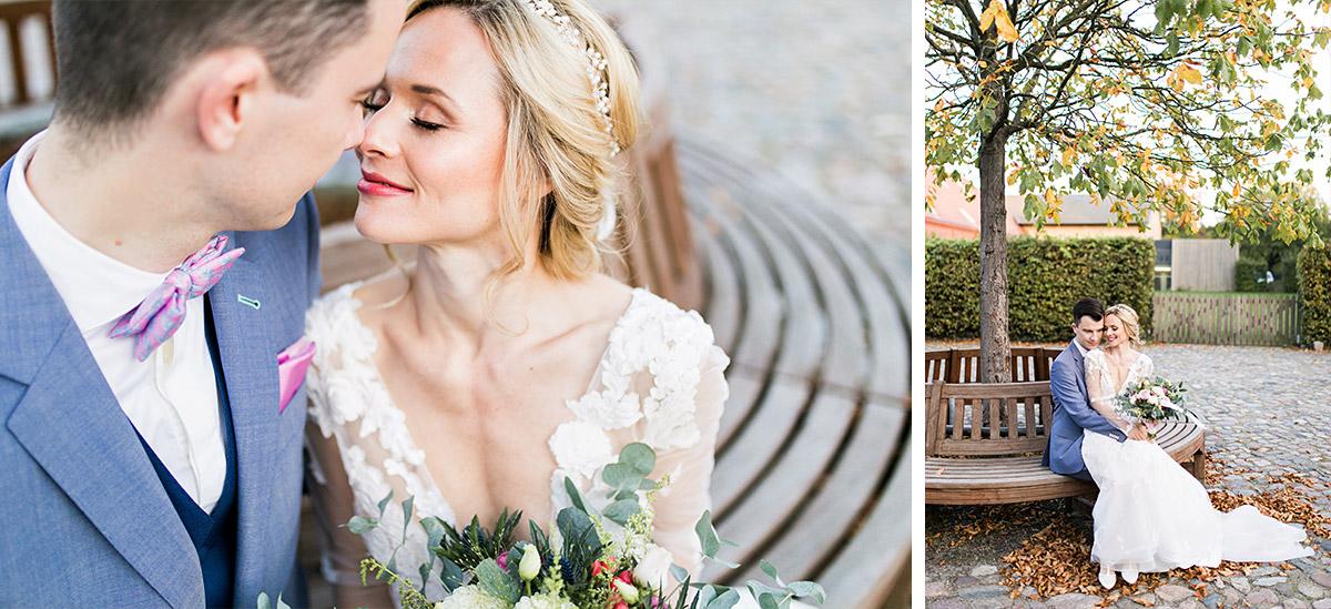 Hochzeitsfoto Brautpaar Herbsthochzeit - Ochsenstall Schloss Britz Hochzeitsfotograf © www.hochzeitslicht.de