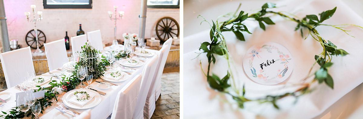 natürliche Tischdekoration rustikal-elegante Berlinhochzeit - Ochsenstall Schloss Britz Hochzeitsfotograf © www.hochzeitslicht.de