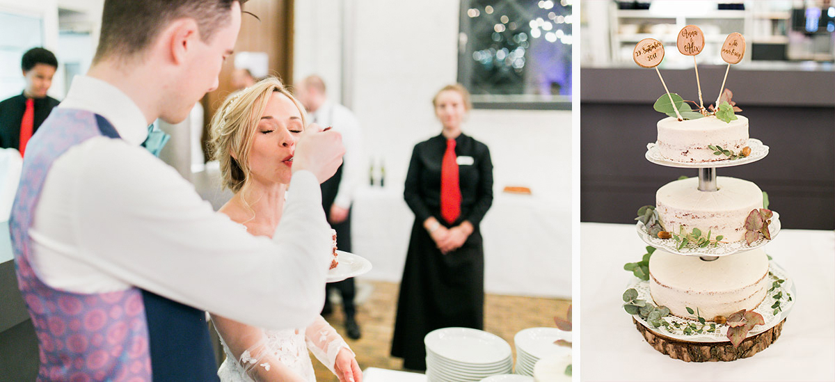 Hochzeitsreportage Anschneiden Hochzeitstorte - Ochsenstall Schloss Britz Hochzeitsfotograf © www.hochzeitslicht.de