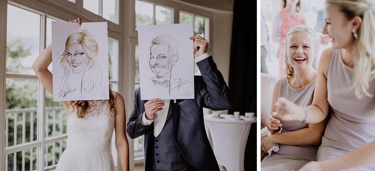 lustige Hochzeitsfotos Karrikaturen Brautpaar - Schloss Friedrichsfelde Hochzeitsfotograf © www.hochzeitslicht.de