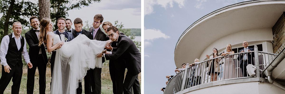 lustiges Gruppenfoto Hochzeit Wannseeterrassen - Schloss Friedrichsfelde Hochzeitsfotograf © www.hochzeitslicht.de