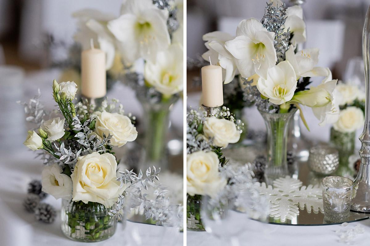Hochzeit Winter Deko weiße Hochzeitsblumen Kerzen und Eiskristalle - Winterhochzeit Hochzeitsfotograf Brandenburg © www.hochzeitslicht.de