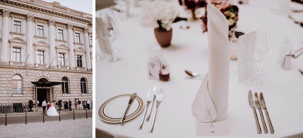 Idee schlichte elegante Tischdeko stilvolle Vintage Hochzeit Berlin - Hochzeit im Hotel de Rome von Hochzeitsfotograf Berlin © www.hochzeitslicht.de #hochzeitslicht