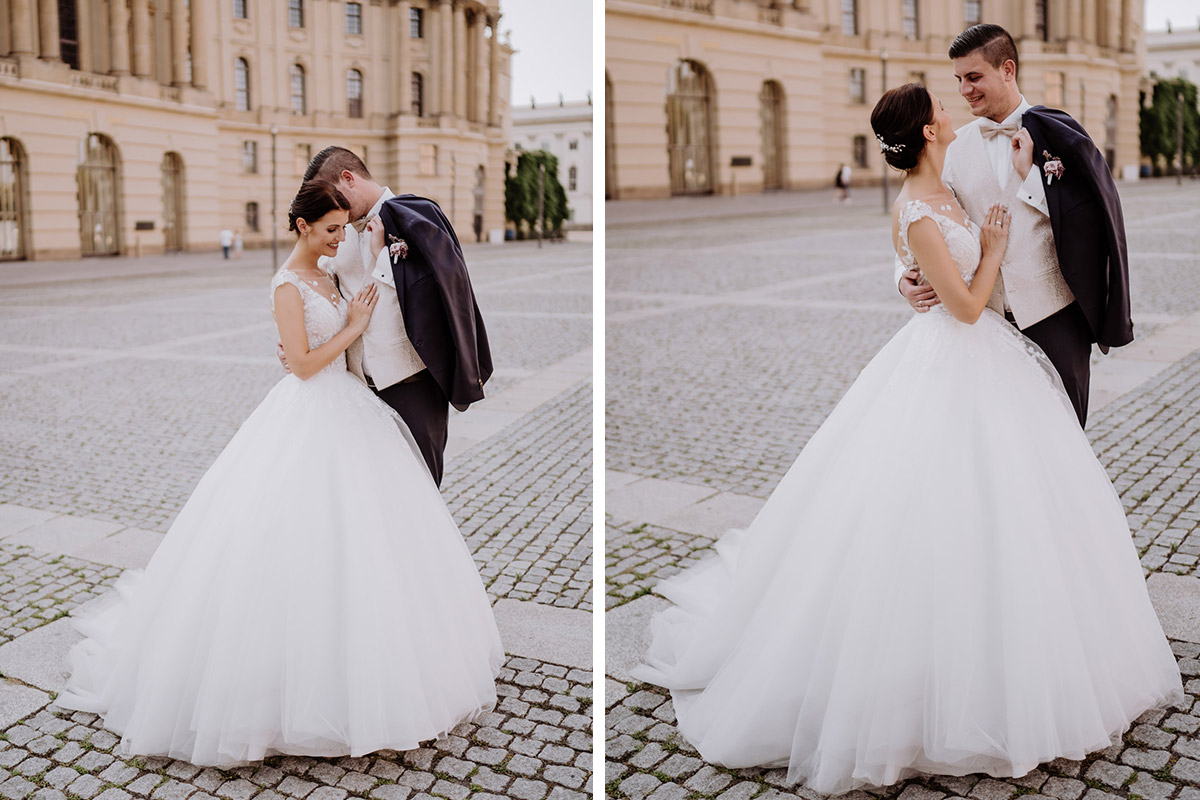 Fotoshooting Brautpaar Idee elegante Vintagehochzeit - Hochzeit im Hotel de Rome von Hochzeitsfotograf Berlin © www.hochzeitslicht.de #hochzeitslicht