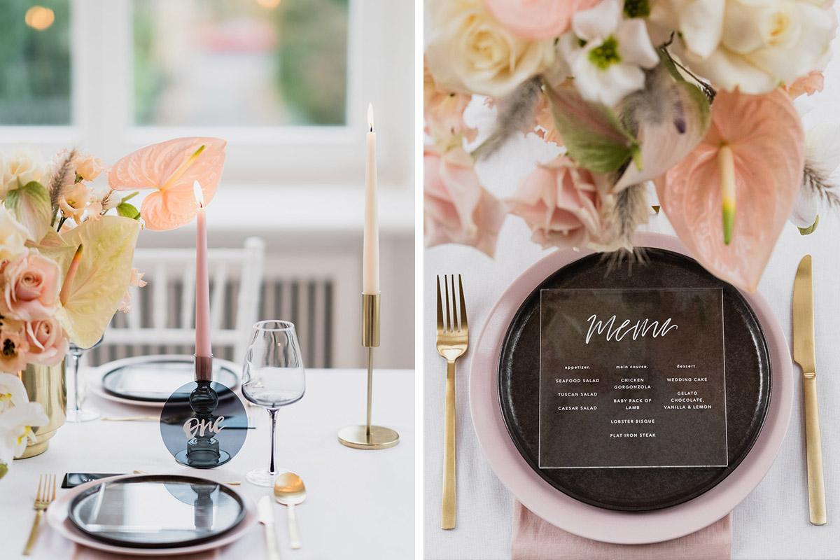 zeitlos modern elegante Tischdekoration Hochzeit Acryl und Blumen Centerpiece in Pastell - Moderne Hochzeitsfotografie Berlin © www.hochzeitslicht.de