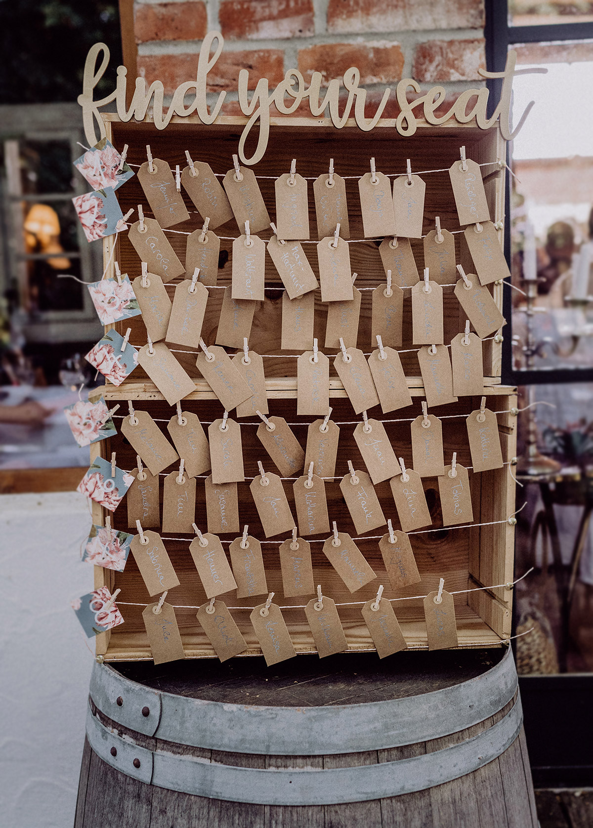 Inspiration DIY Sitzplan elegante Vintagehochzeit Sommer Wäscheklammern Karton Schildchen - vintage Spreewaldhochzeit Hotel zur Bleiche Hochzeitsfotograf und Hochzeitsvideo Berlin © www.hochzeitslicht.de