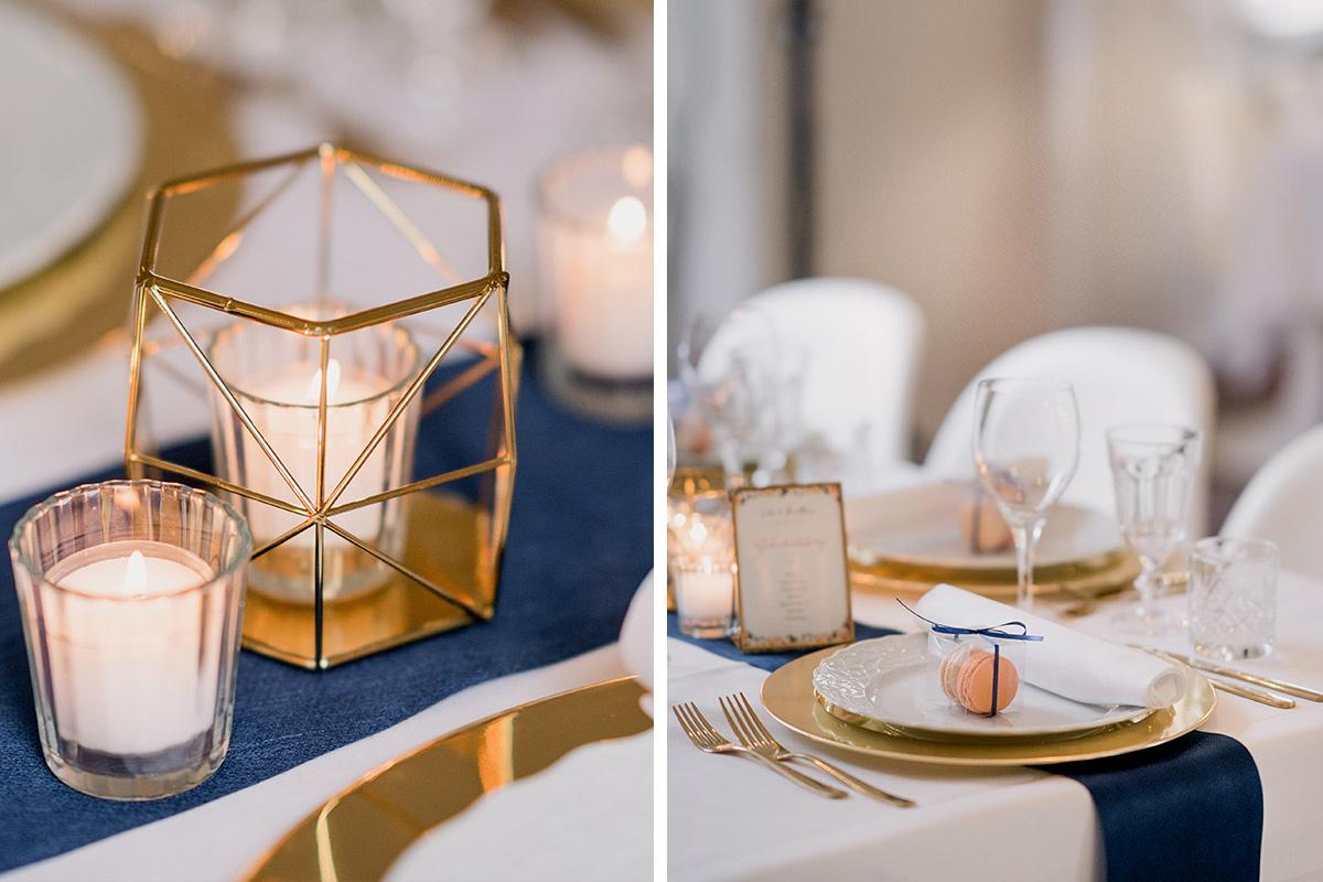 Inspiration Tischdekoration DIY Hochzeit gold weiß blau Macarons als Gastgeschenke - Schloss Blankensee Hochzeit Hochzeitsfotograf Berlin © www.hochzeitslicht.de