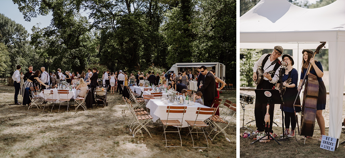 Inspiration Sektempfang Sommerhochzeit Zelthochzeit - elegante deutsch-russisch-amerikanische Schloss Steinhöfel Hochzeit von Hochzeitsfotograf Brandenburg © www.hochzeitslicht.de