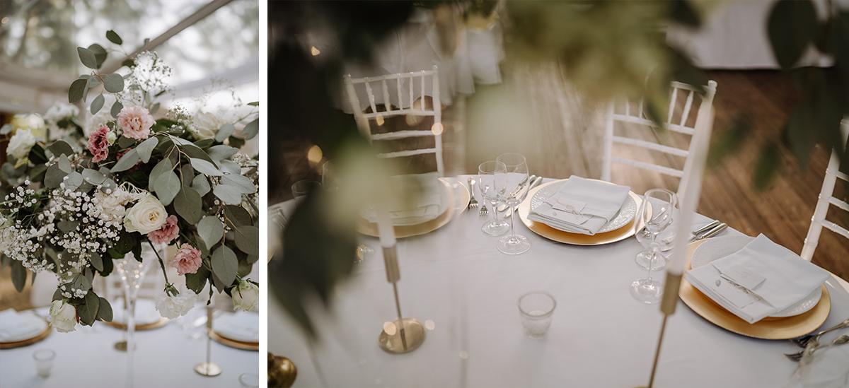 Hochzeitsfotos stilvolle Tischdekoration weiß gold Schlosshochzeit - elegante deutsch-russisch-amerikanische Schloss Steinhöfel Hochzeit von Hochzeitsfotograf Brandenburg © www.hochzeitslicht.de