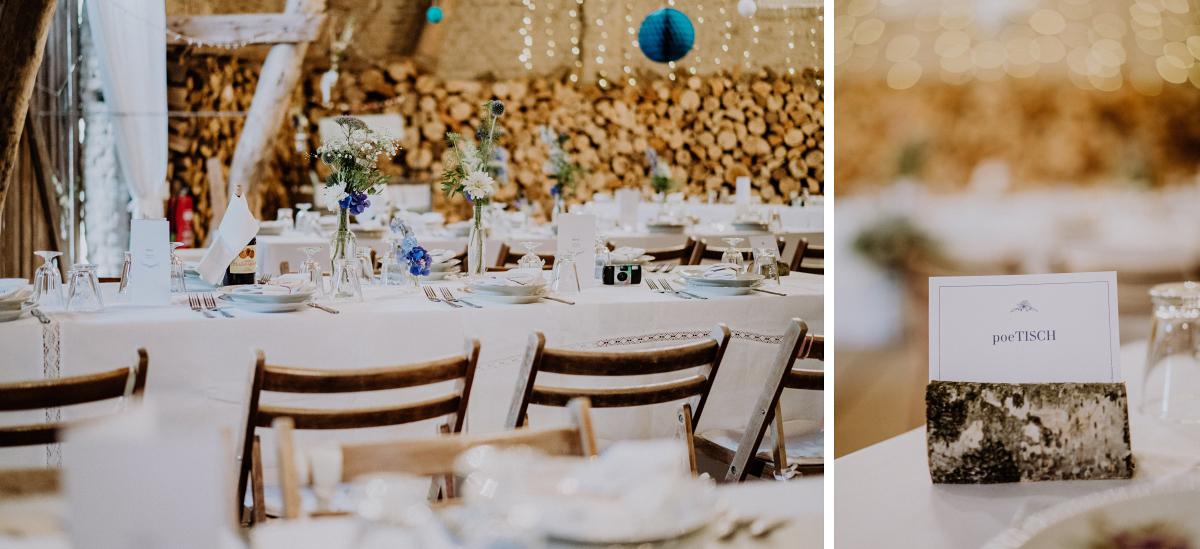 Inspiration DIY Tischdekoration rustikale elegante Landhochzeit Scheune blau weiß silber - Boho-Scheunenhochzeit in Brandenburg im Schmetterlingsgarten mit Hochzeitsfotografin aus Berlin © www.hochzeitslicht.de