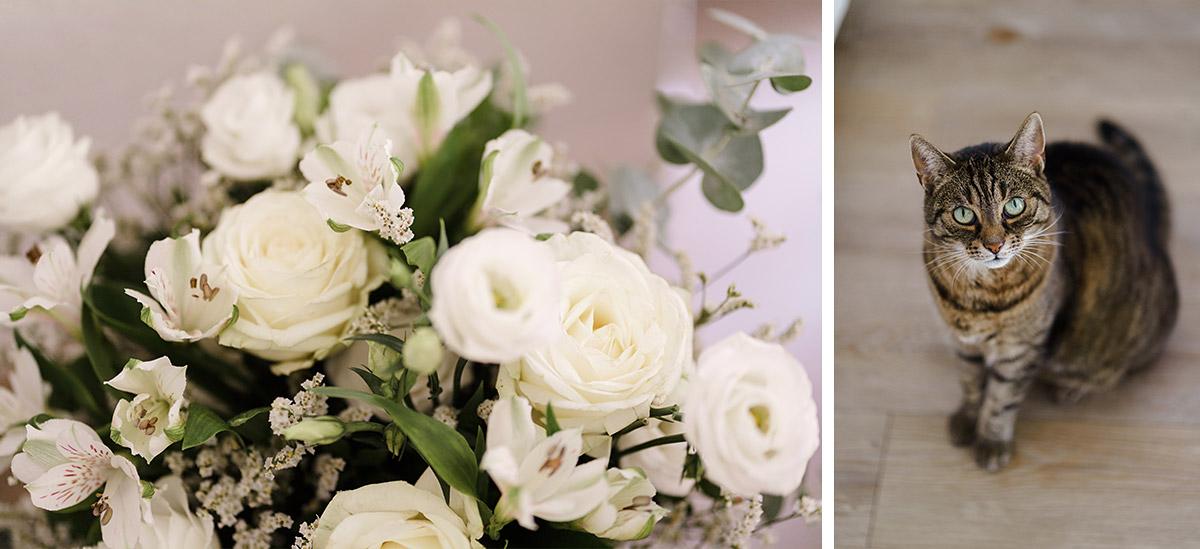 Braustrauß elegante Sommerhochzeit weiße Rosen - Potsdam Hochzeitsfotografin im Gut Schloss Golm für Hochzeit am Wasser und im Wald © www.hochzeitslicht.de