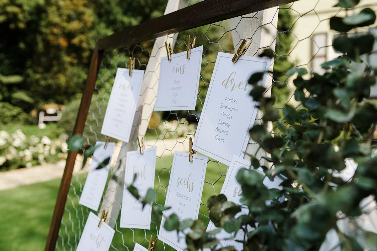 Inspiration DIY Sitzplan elegante Sommerhochzeit weiß gold - Potsdam Hochzeitsfotografin im Gut Schloss Golm für Hochzeit am Wasser und im Wald © www.hochzeitslicht.de