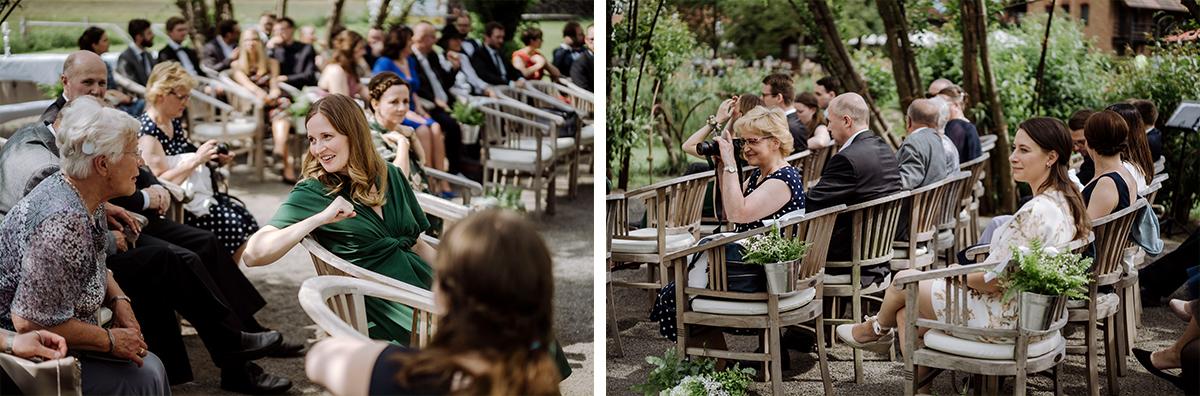 Hochzeitsfotos Gäste Trauung Standesamt - Standesamt vintage Hochzeitsfotograf im Spreewald Brandenburg im Weidendom des Spreewaldresort Seinerzeit und im Spreewood Distillers © www.hochzeitslicht.de