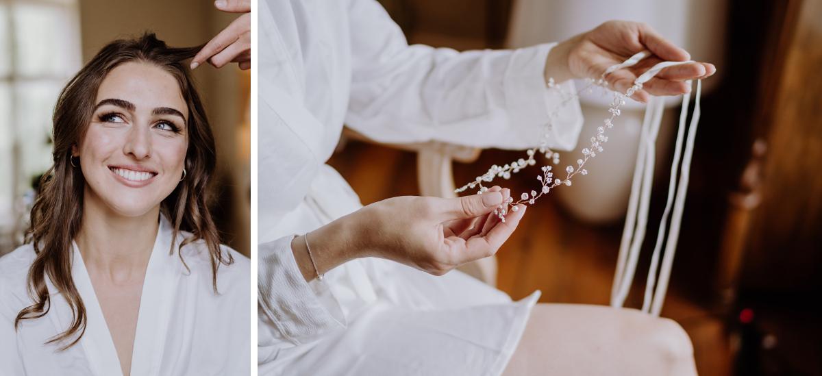 Hochzeitsfotoshooting Braut Vorbereitungen - Scheunenhochzeit in Brandenburg im Gutshaus Penzlin Hochzeitsfotograf Berlin © www.hochzeitslicht.de
