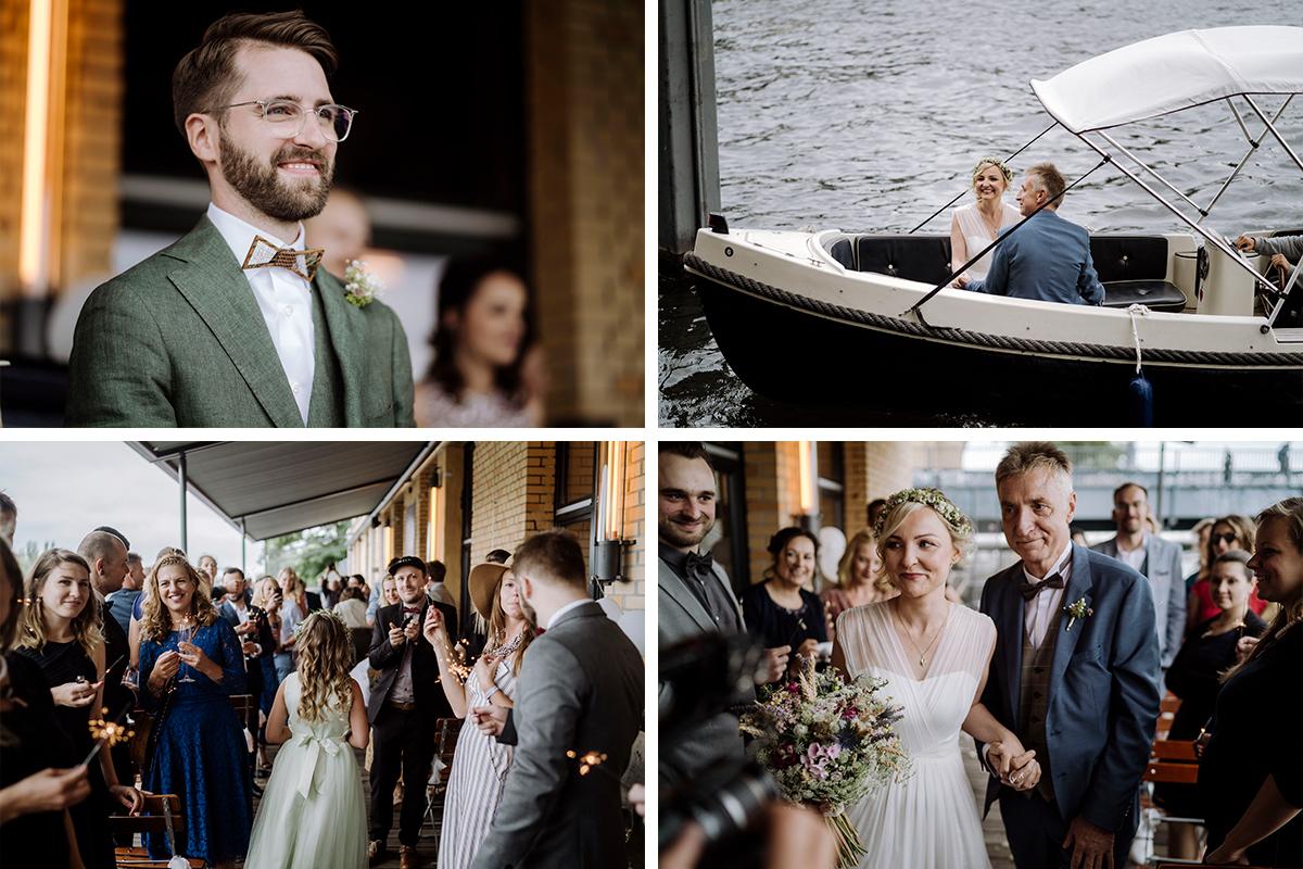 Trauung am Wasser Boot - urbane Hochzeitsfotos im Restaurant Sonnendeck Hochzeitslocation am Wasser Hochzeitsfotograf Berlin © www.hochzeitslicht.de