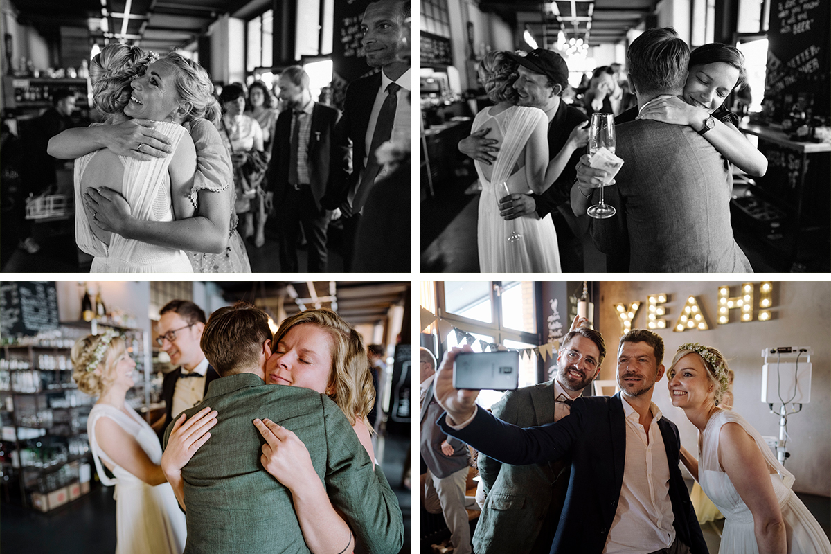Inspiration Hochzeitsfotos Gratulation Gäste freie Trauung Berlin - urbane Hochzeitsfotos im Restaurant Sonnendeck Hochzeitslocation am Wasser Hochzeitsfotograf Berlin © www.hochzeitslicht.de